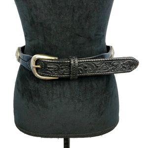 JUSTIN Cowhide Conchos Embossed Belt 32